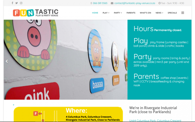 Funtastic Play and Party Venue - Joomla website design