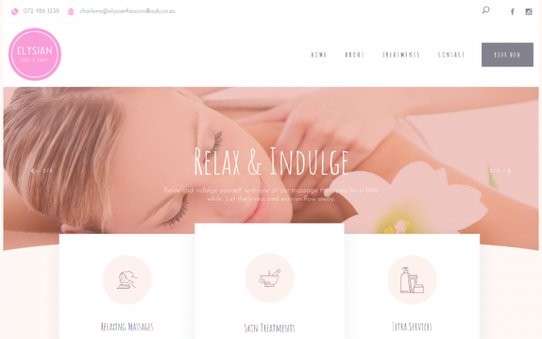 Elysian Face & Body - WordPress web design
