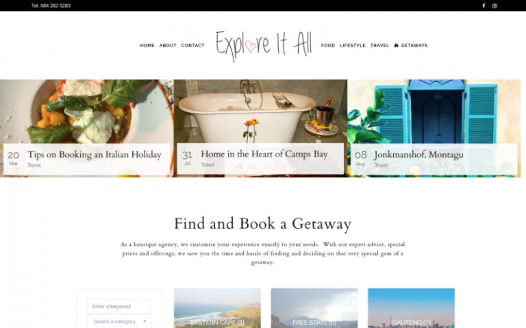 Explore It All - WordPress web design